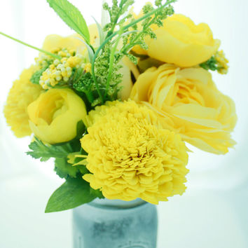 Silk Faux Arrangement Yellow Ranunculus Rose Bead Vintage Mason Flowers with Yellow Paper Carnation Accents