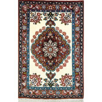 Vintage Persian Rug Bakhtiari Classic Tribal Rug, Blue Red Rug 3 x 5 Area Rug