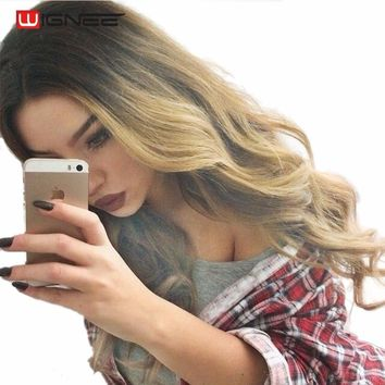 Front Ombre Different Colored Long Synthetic Wigs High Temp