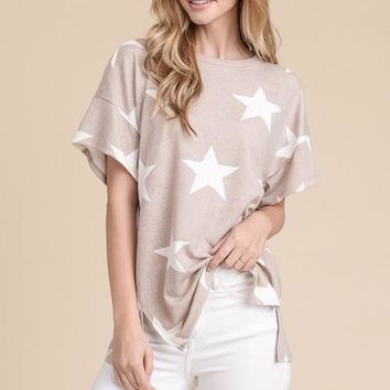 Star Print Short Sleeve Top - Beige