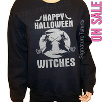 Happy Halloween Witches Sweatshirt, Halloween Costume, Halloween oversized Black sweater Mens Womens cute Witch Bats