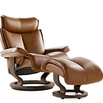 Magic Medium Recliner and Ottoman by Stressless in Royalin Tiger Eye Leather