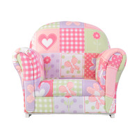 KidKraft Upholstered Rocker with Slip Cover - Dollhouse Cottage Patchwork - 18705