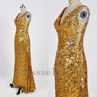 Custom Gold Sequins Lace Crystals Long Prom Dress Formal Evening Dress Elegant Celebrity Dress Formal Occasion Dress New Party Dress