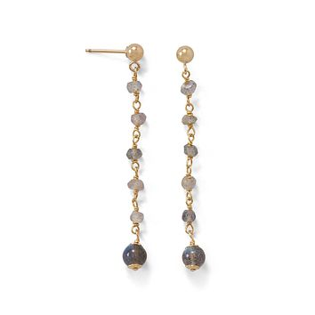 14k Yellow Gold over Sterling Silver Labradorite Bead Long Post Earrings