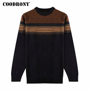 Winter Thick Warm Merino Wool Sweater Men Knitted Cashmere Pullover Men Casual Striped O-Neck Pull Home