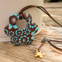 Brown and Turquoise Flower Pendant - Chocolate and Mint Necklace