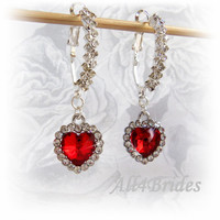Weddings Jewelry Red Hearts Earrings - Bridal Bridesmaids Dangle Earrings - Valentines Holiday Gifts For Her