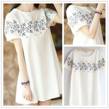 DCCKIX3 Lovely Embroidery Floral White Short Sleeve Cotton Linen Plus Size One Piece Dress [4919721604]