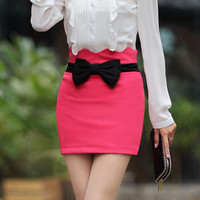 Solid color bow slim skirt bust dress with BOW [201]