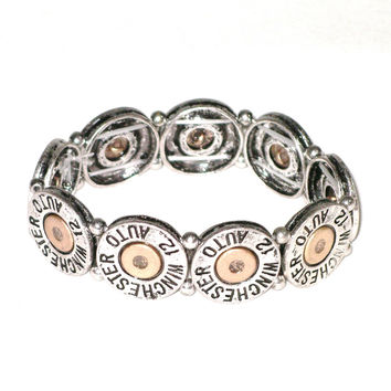 Winchester Shell Stretch Elastic Bracelet Boho Cowgirl Western 12 Gauge Automatic