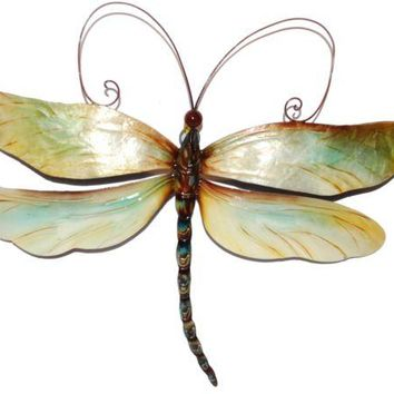 Metal Wall Art Capiz Dragonfly Handmade Decor Beautiful Hanging Sculpture