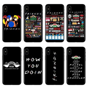 Central Perk Coffee friends tv show how you doin Black silicone Phone Case Cover For iPhone X 5 5s SE 6 6SPlus 7 7Plus 8 8Plus