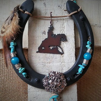 Decorated Horseshoe, Cowgirl Gift, Horseshoe Decor, Horseshoe Art, Southwest Decor, Horse Decor, Reining Horse, Western Decor, Ranch Life