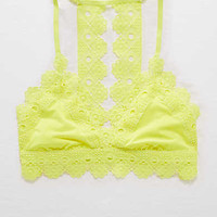 Aerie Triangle Lace Trim Bralette , Sugar Rush
