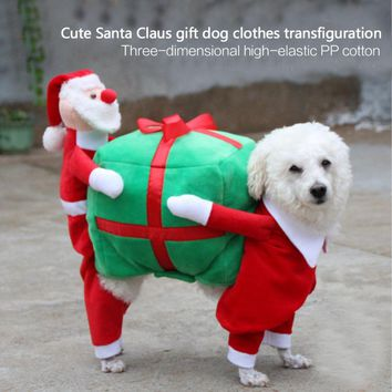 Pet Dog Clothes Funny Santa Claus Christmas Dog Costumes Cute Puppy Cat Warm Winter Pet Coat Clothing ropa para perros