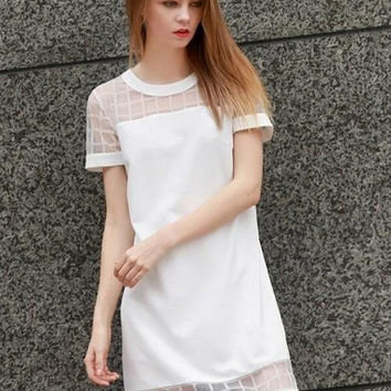 White Plaid Mesh Short Sleeve Shift Mini Dress
