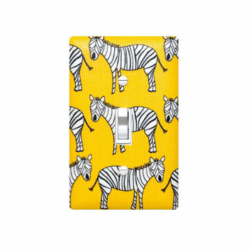Zebra Light Switch Plate Cover / Baby Boy Nursery Decor / Boys Room Safari Bathroom