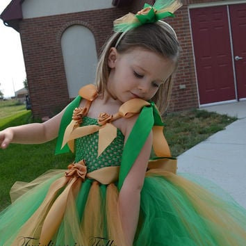 Flower Girl Dress Green and Gold Tulle Flower Girl Dress  Size 2 - 4T