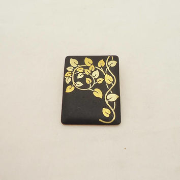 Vintage Amita Brooch/Pendant, Damascene Brooch, Japanese Damascene Black and Gold Brooch/Pendant