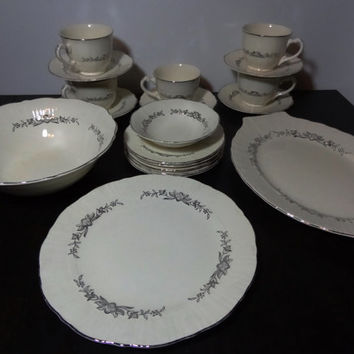 Vintage Coronet Dinnerware - Platinum Wreath by Homer Laughlin - Antique White & Silver - Set of 19 - Dessert Set or Tea Party Set