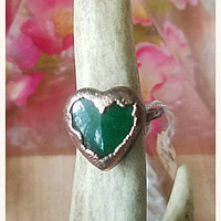 Green Aventurine Heart Cabochon Stacking Rings Simple Electroformed Rings Copper Bohemian Gypsy Metaphysical Jewelry size 6