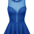 LE3NO Womens Classy Fitted Sleeveless Round Neck Peplum Top (CLEARANCE)