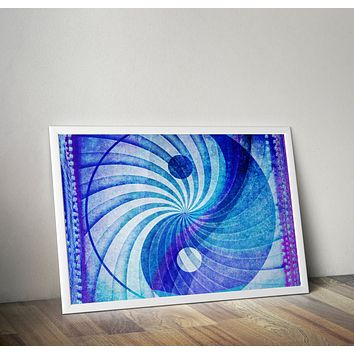 Ying Yang Blue Distressed Art Yoga Grunge Hippie Poster Design no frame 20x30 Large