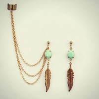 mint green and feather ear cuff earrings