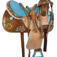 Blue Crystal Inlay Barrel Racing Western Horse Saddle 17