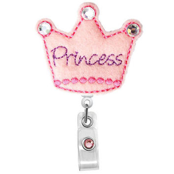 Princess Crown - Name Badge Holder - Nurses Badge Holder - Cute Badge Reels - Unique ID Badge Holder - Felt Badge - RN Badge Reel