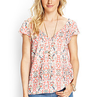LOVE 21 Cutout Back Floral Top Ivory/Red