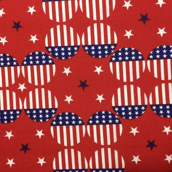 """USA Stripes ~ Patriotic Stars Material~ 43/44"""" 100% Cotton- Fabric by the yard"""