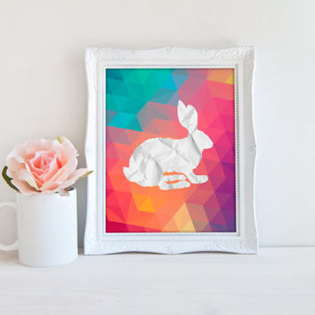 Bunny Rabbit Geometric Polygon Rainbow Art Printable Sign, Wrinkled Paper Bunny Rabbit Digital Wall Art Template, Instant Download, 8x10