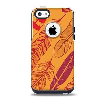 The Orange and Red Vector Feathers Skin for the iPhone 5c OtterBox Commuter Case