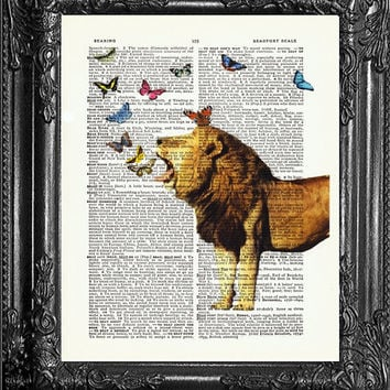 Cecil The Lion-Dictionary Print Vintage Book Print Page Art-Upcycled Antique Book Page-Print On Dictionary Book Page-Upcycled Book Page