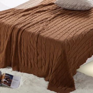 Plush Soft Queen Soild Color Knitted Bed Throw Blanket  [9595849103]