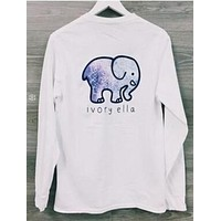Ivory Ella Cute Elephant Pocket Long Sleeve Shirt Top Tee