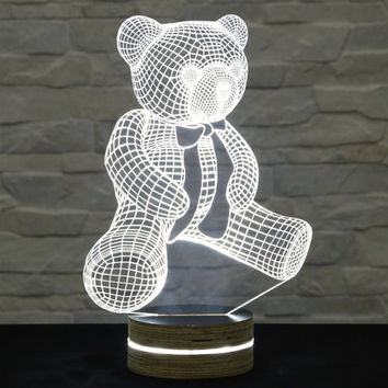 Teddy Bear Shape, Art Deco Lamp, 3D LED Lamp, Kid's Room Decor, Art Lamp, Nursery Light, Plexiglass Lamp, Decorative Lamp, Acrylic Lamp