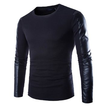 Mens Leather Sweatshirt Black Long Sleeve Pullover PU Patchwork Leather Wear Fitness Compression Shirt Men Pullover Clothing 2XL