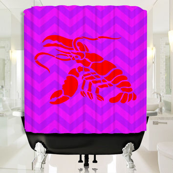 Red Lobster with Purple Chevron Shower Curtain