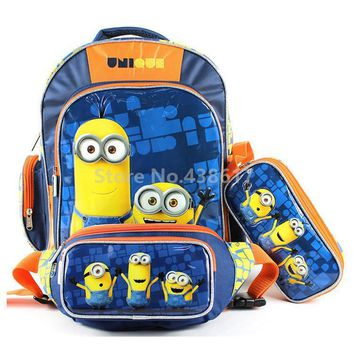 Fashion Despicable Me Minions School Bags With Pencil Case Waist Packs Set for Boys Children Primary School Backpack Kids Bag