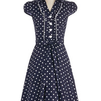 ModCloth Long Cap Sleeves A-line About the Artist Dress in Navy Dots