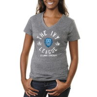 Columbia University Lions Ladies Conference Stamp Tri-Blend V-Neck T-Shirt - Ash