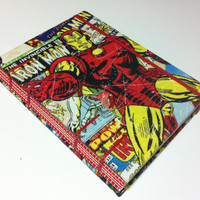 Iron Man & X-Men Vintage Comic Book Covers Fabric Journal Notebook - Handmade - Coptic Stitched