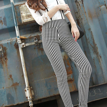 Black White Vertical Stripes Ninth Pants High Waist Elastic Plus Size Slim Thin Pants
