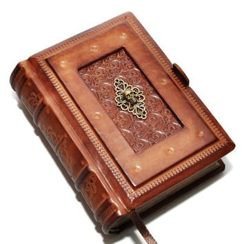 "Small leather journal- Boo of dead - vintage style, 4""x5.7"", 10x14.5cm"