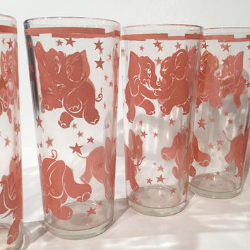 Hazel Atlas Pink Elephant Tumblers Set of 5 Vintage Pink Elephant Tumblers | Drinking Glasses