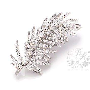 Wedding brooch Rhinestone Feather Style brooch adornment, Sash Applique, Buckle, Hair comb, Clutch Bridal Jewelry