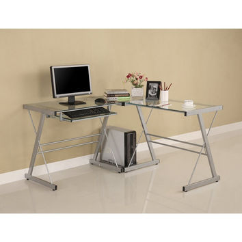 Glass L-Shaped Computer Desk